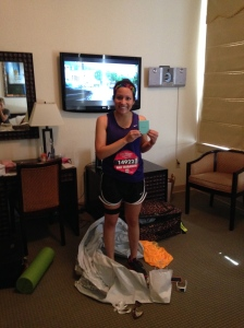 Back at the hotel with my finishers medal:)